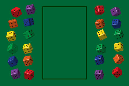 Frame of Rainbow Color Dice on Green