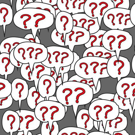 Question Mark Comic Speech Bubbles Seamless Pattern Illustration