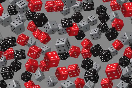 Red Black Gray Dice Seamless Pattern, 3D Illustration