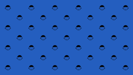 Happy boy with smiles are arranged as pattern on the blue background for computer monitor or wall paper.