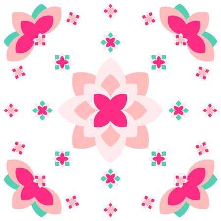 Pink flora petal with green leaves are repeatedly set as pattern on the white background.