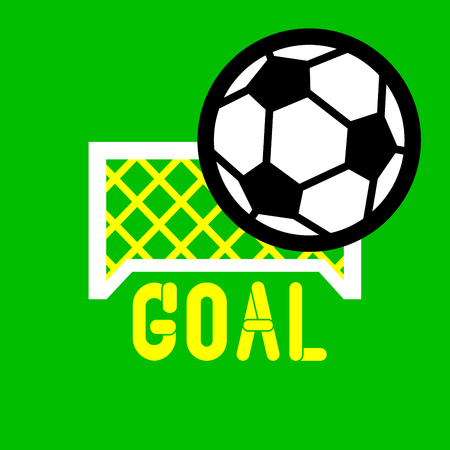 White football goal with typical football with GOAL letter on the green background.