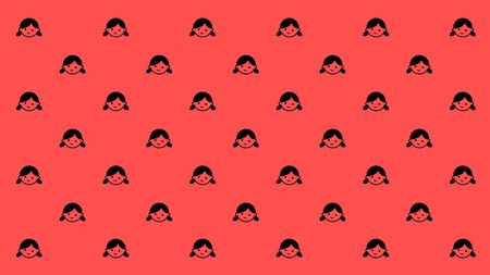 ponytails: Happy girl with ponytails are smiles has been arranged as pattern on the pink background.