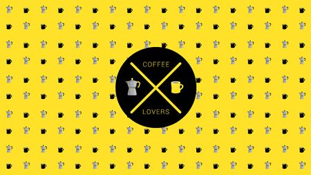 Coffee pot with coffee mug are arranged in pattern on the yellow background. Illustration