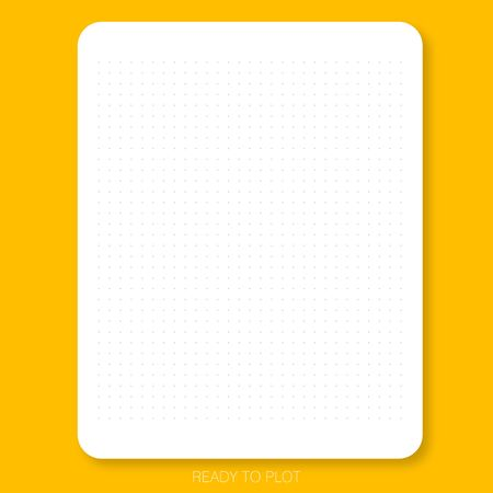 Dot pattern on the white plain paper with yellow background is ready to plot that can create graph, chart, design draft or do scrapbook.