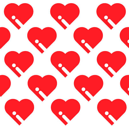 i like: Simply red heart arranged in pattern on the white background. Illustration