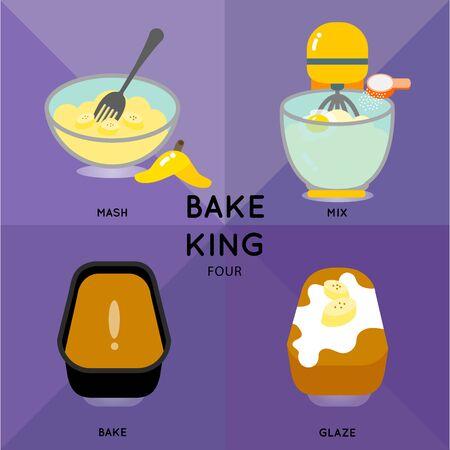 図は表示バナナ マフィン パンの作り方です。