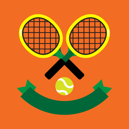 2 tennis racquets with the green tennis ball decorated with green banner on brown background. Illustration