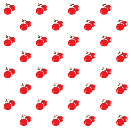 Two red cherries are set as a pattern on the white background.