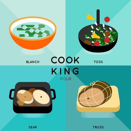 料理別調理技術とプロセスの 4。