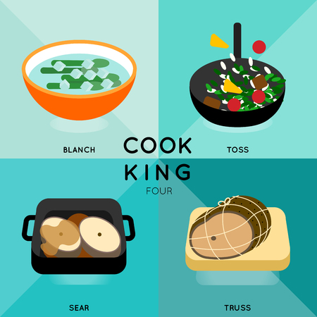 sear: 4 of cooking process with different cooking techniques. Illustration
