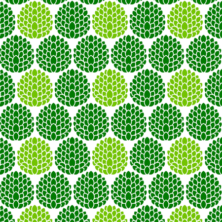 Green and light green leaves repeat on the white background. Illustration