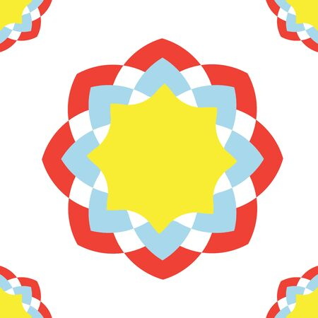 Red, blue and yellow arranged as flower on the white background. this seamless graphic can be used as pattern or applied in any kind of artwork such as fabric or backdrop.