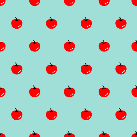 Bold seamless red apple pattern on the blue background. Illustration