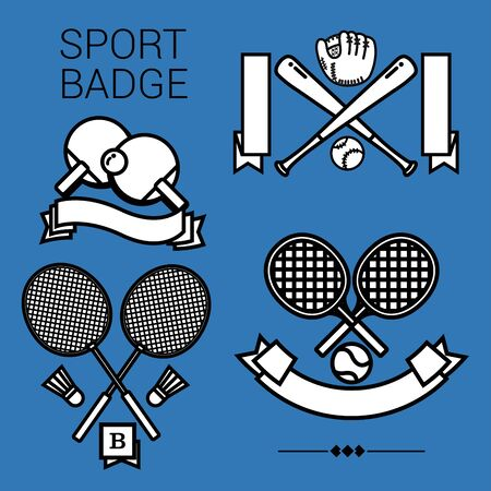 4 popular sport emblems, tennis, table tennis, badminton and baseball in black and white style on the blue background.
