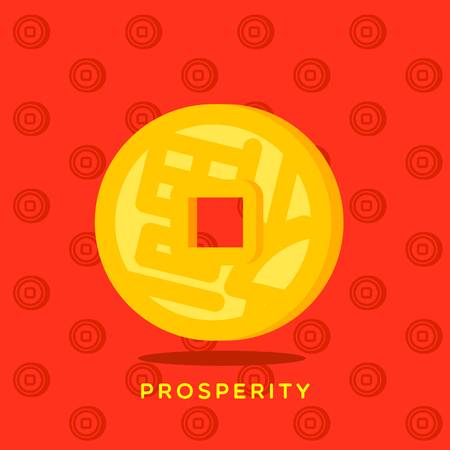 Yellow Chinese coin fu lucky word on red background with coin pattern. Wishing you happy and lucky for new year long. Illustration