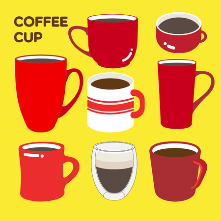 drinkware: Collections of coffee red cups in different shapes.