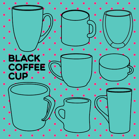 drinkware: Collections of coffee cups in different shapes. Illustration