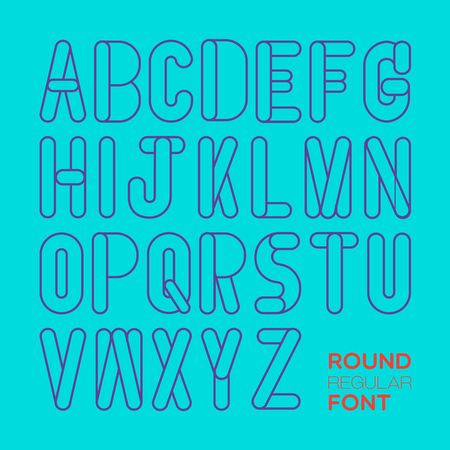 English alphabets are created in light and simple style with cleared line.