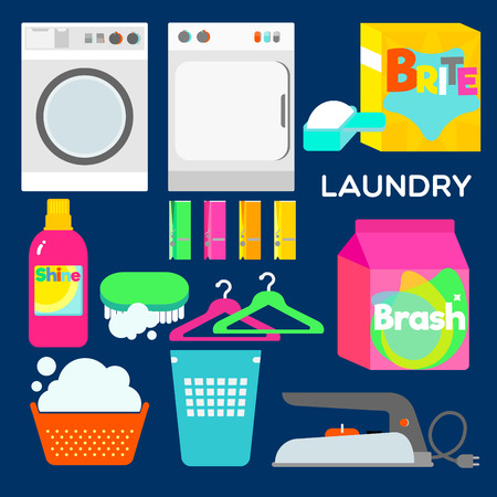 heavy duty: Laundry appliances and equipments illustrated in graphic style.