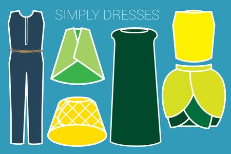 jersey: Collections of clothes are illustrated in colorful simply style. Illustration