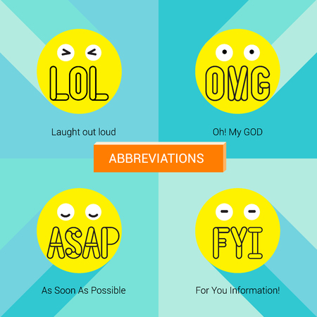 Face emotion with abbreviation to show feeling. Illustration