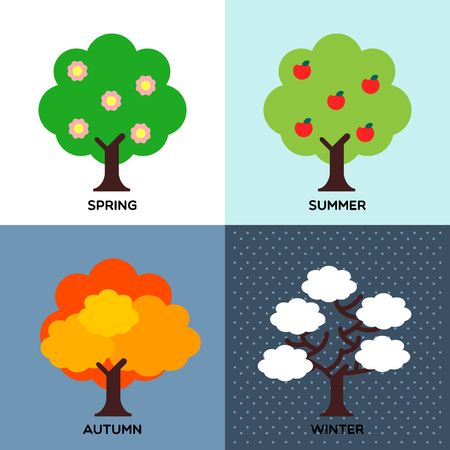 four seasons change during the year round and tree leaves have changed their color. Illustration