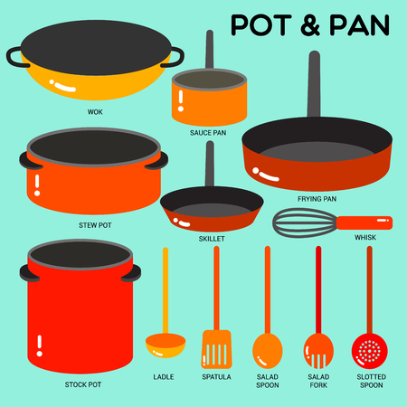 Cook ware set with pots, pans, wok and utensils in simple style with colors.