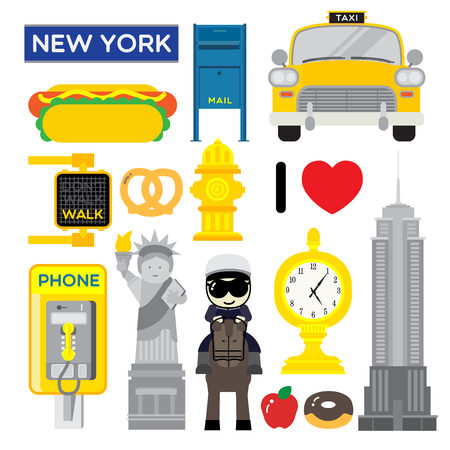 New York, one of the most popular metropolis in the world, with icons showed how unique it is such as big statue, sky-high building, food, and taxi.