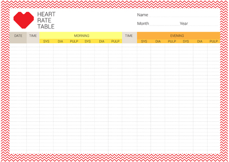diastolic: Ready to use or print to record heart rate for everyday. The table are consisted of systolic, diastolic and pulp with date and time for good health. Illustration