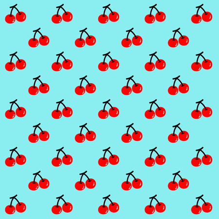 Two red cherries are set as a pattern on the light blue background.