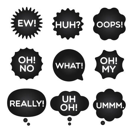 huh: Black expression bubble with popular frighten expression words.