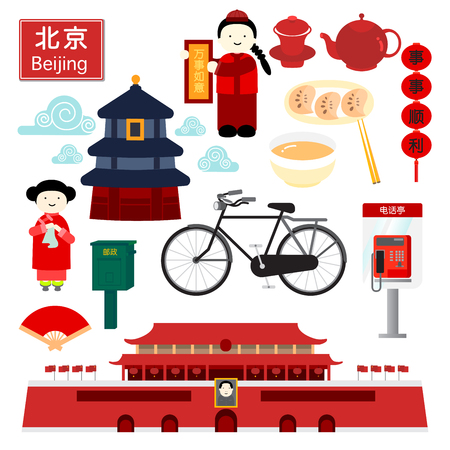 The capital city of China, BEIJING with icons such as popular places, food, transportation are represent how lively Beijing is.
