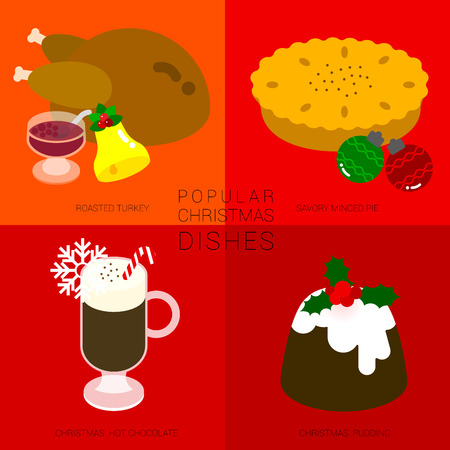 christmas pudding: Four popular christmas dishes is illustrated in simple style with festival icon such as a bell, snowflake, and christmas decoration ornament on red background. Illustration