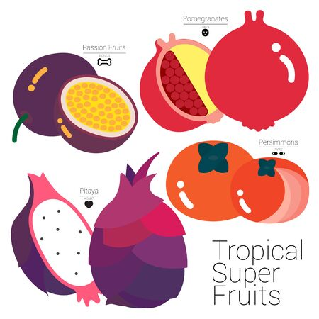 Four colorful tropical fruits packed with useful nutritions that it has been called Super Fruits.