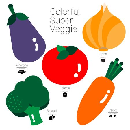 Five colorful vegetables are illustrated in simple shapes and different color pigment these are obviously and easily defined the useful nutritions.