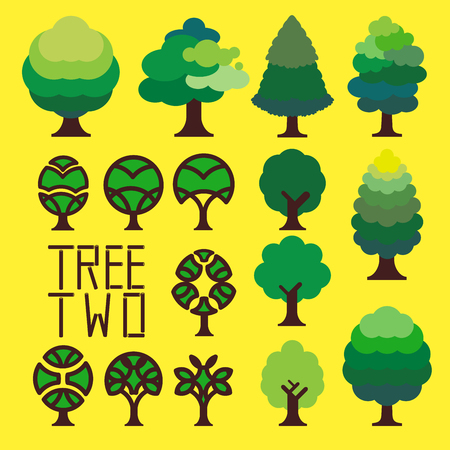 Graphic of simple trees, variety of green colour for leaves create green atmosphere.
