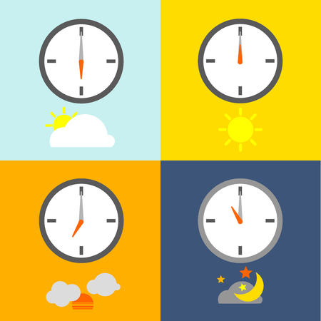 clocks show 4 times for people routine and the sky icon show indicate the time as usual.