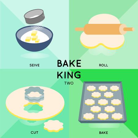 かわいいシュガー クッキーを得るまで、4 つのステップで示します調理プロセスを作るします。  イラスト・ベクター素材