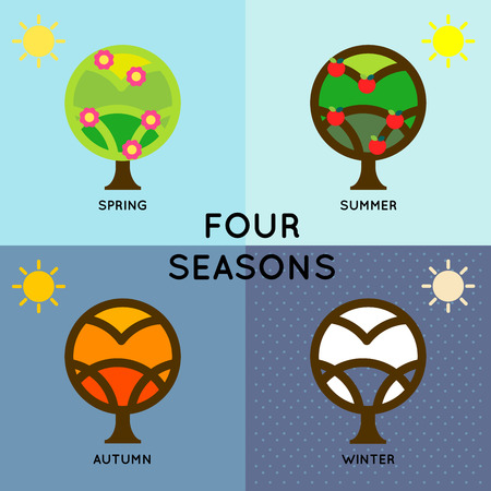 meteorological: Depict of four seasons change during the year round. Tree changing is an symbol to tell the start of season.