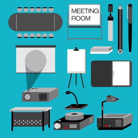 pen and marker: Meeting room for the office with useful equipment are collected in this picture such as meeting table, projector.