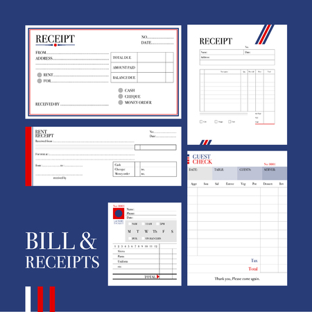 Various types of bill and receipts formats in formal design are gathered and ready to use.
