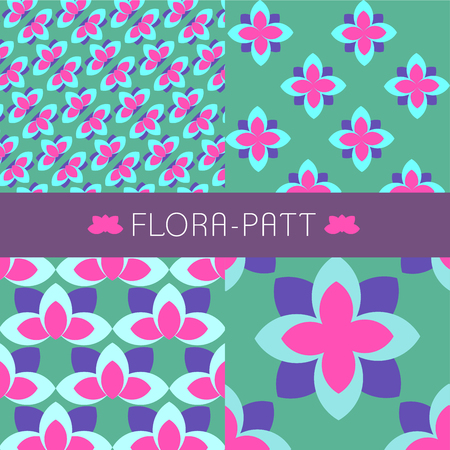 printed material: Colourful flora pattern arranged in 4 different design can be used as a tile pattern, fabric pattern, wall decorating and etc. Illustration