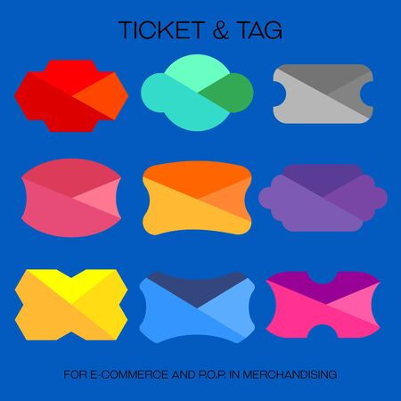 Graphic style tickets and tags are created for e-commercial or P.O.P. in merchandise. Illustration