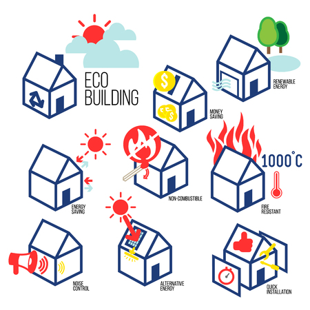 Environmentally friendly construction are depicted as eco-friendly icon, and showed advantages of this technology.