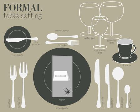 Formele eettafel omgeving met volledig uitgerust gereedschap zijn ingericht in moderne stijl. Stock Illustratie