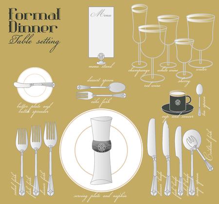 Formeel dineren met een elegante tafeldecoratie in glamoureuze stijl zorgt voor een compleet diner. Stock Illustratie