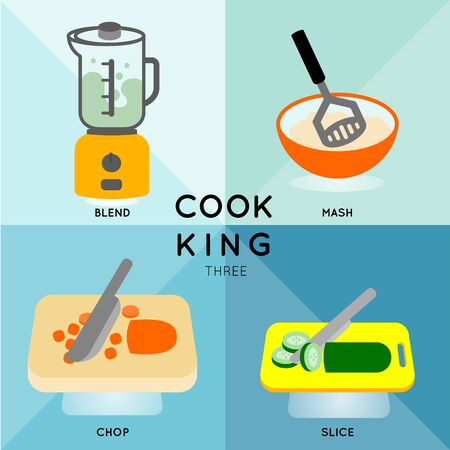 ware: 4 of cooking process with different cooking utensils.