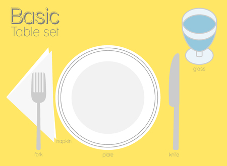 Common type of table setting for western dining, there is only one dinner plate, knife and fork. It's look very usual and simple.