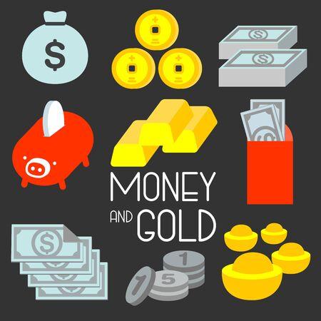 Tutti illustrano il simbolo popolare di risparmio, guadagno, spesa come banconota, moneta, oro. rappresentano la ricchezza del proprietario. Archivio Fotografico - 77736376